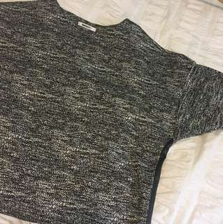 DKNY Grey shirt (size M) with leather details