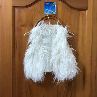 🚚 誇張長毛短版白色背心外套