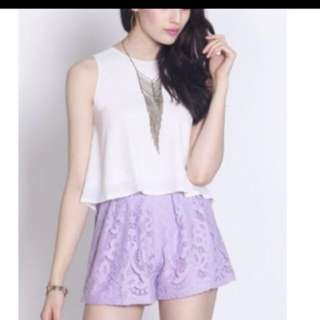Fayth stardust lilac lace shorts