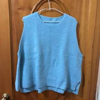 🚚 輕鬆感水藍色搭配襯衫背心毛衣