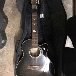 Wts ibanez 12 string acoustic guitar black ael2012