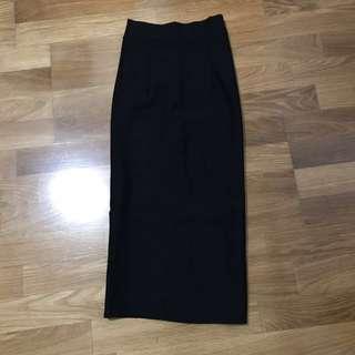 開衩黑色長裙 窄裙