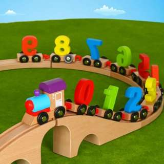 (SOLD) BN Wooden Number Train Toy Set with Tracks