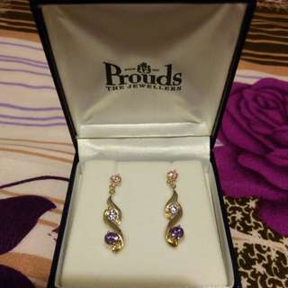 Pink and Purple Cubic Zirconia Earrings