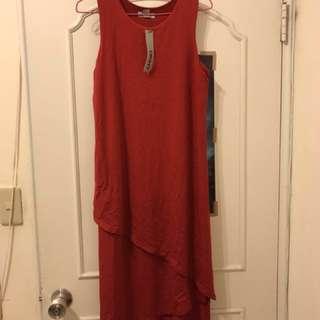 DKNY 紅色洋裝