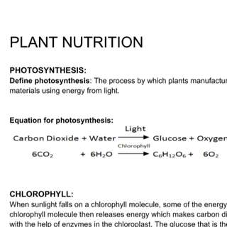 IGCSE BIOLOGY PLANT NUTRITION AND TRANSPORT FULL NOTES A* STUDENT