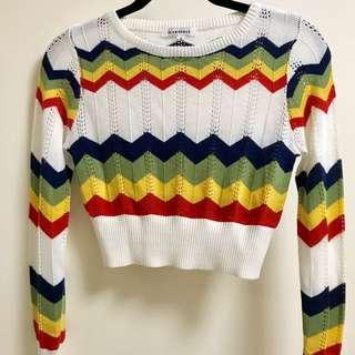 Glamorous Rainbow Chevron Fine Knit Sweater