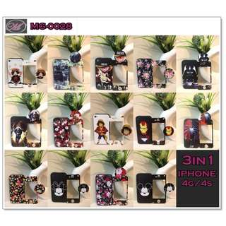 CODE: MG-0028 IPHONE 4g/4s Case w/ Tempered Glass & Pop Socket