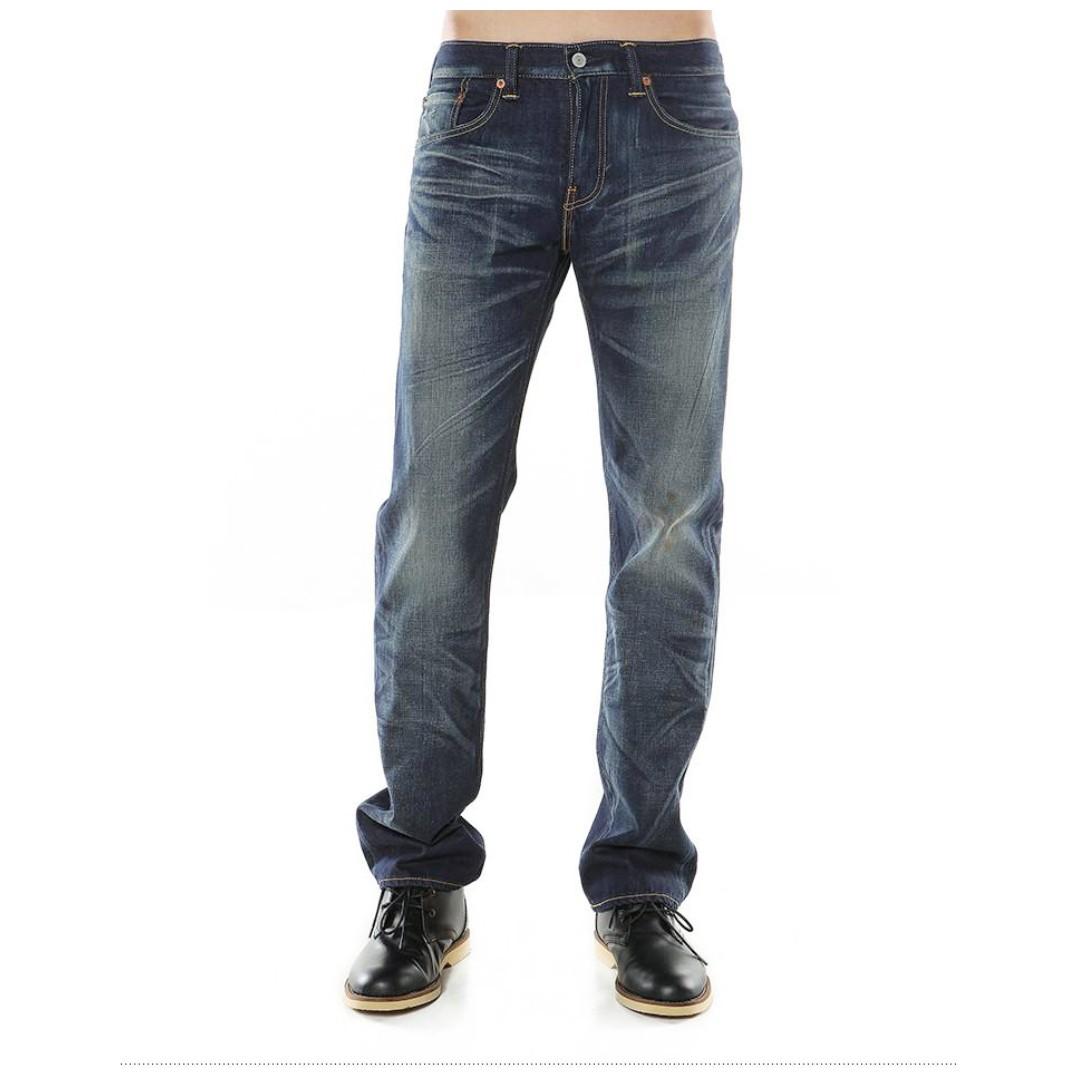 31腰 Levis 502 仿舊污漬點綴 強烈洗刷色白 經典直筒 牛仔褲 休閒 長褲 二手 工作褲