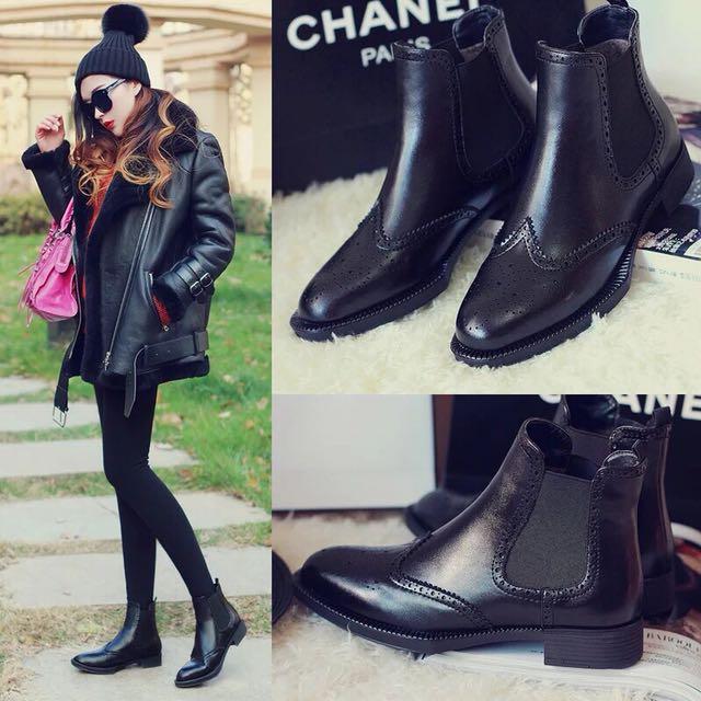 黑色牛津雕花短靴-40號