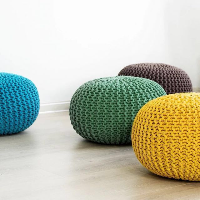 (5 Colors) French Style Knitted Pouf /Cushion Stool