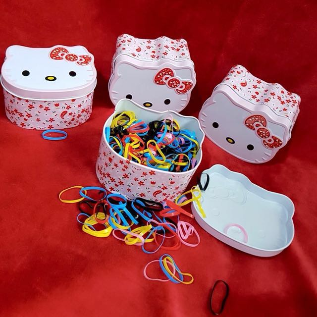 700pcs hair tie with hello kitty canister