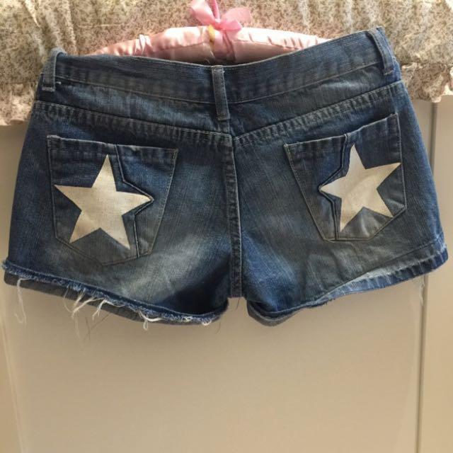星星仿舊牛仔短褲