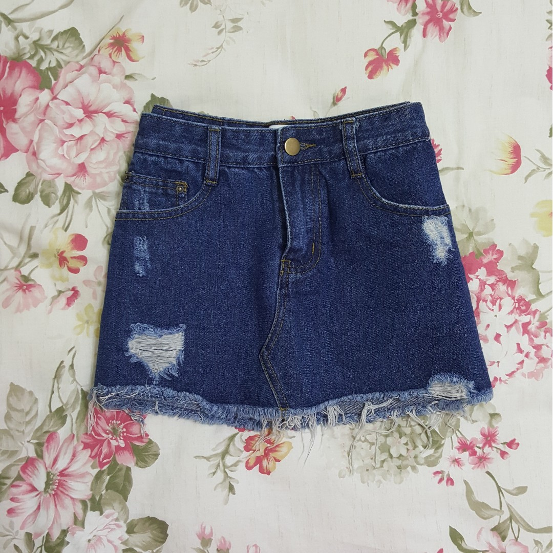 【全新】小刷破牛仔短裙