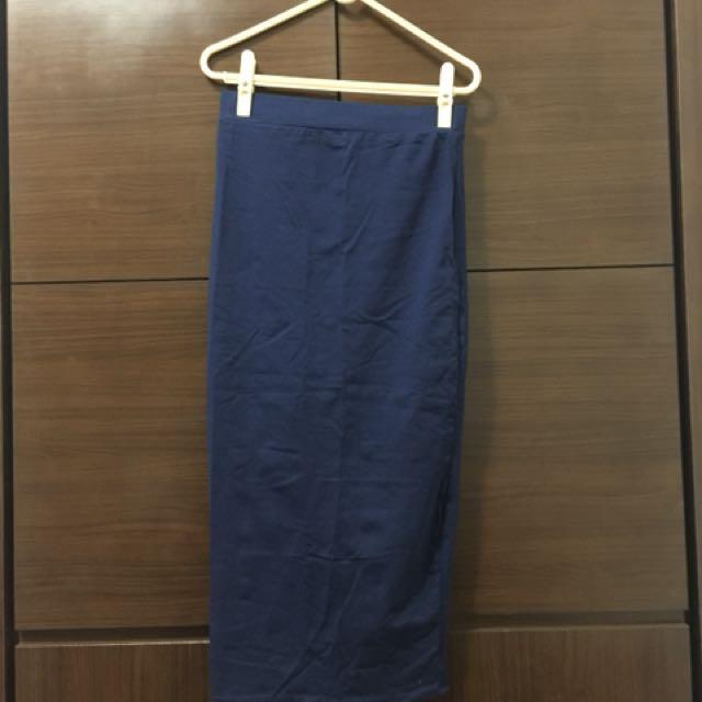 深藍後開衩窄裙