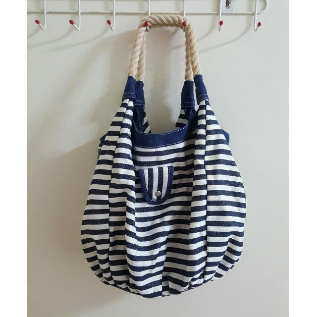 🔵【二手】海軍風條紋大容量肩背包