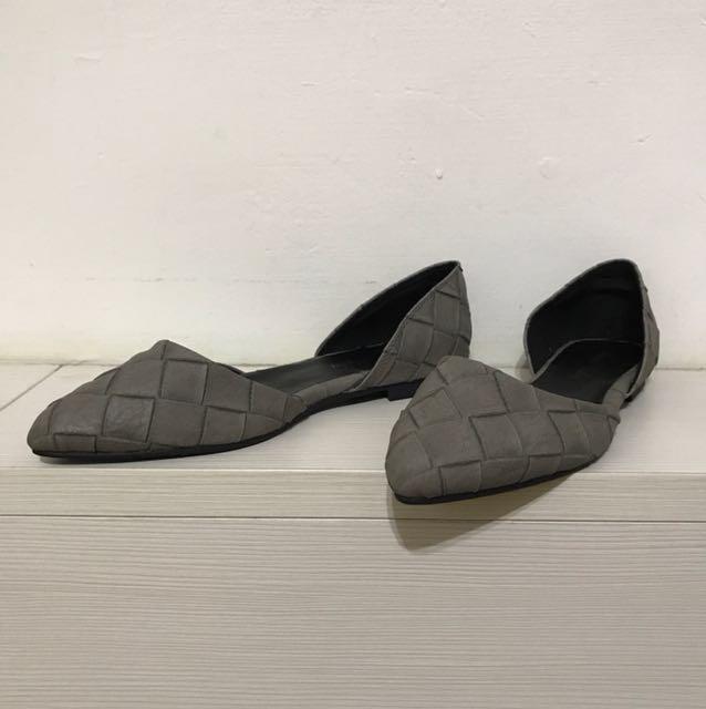 古著/大象灰麻灰色編織感側邊鏤空尖頭平底鞋/大尺碼