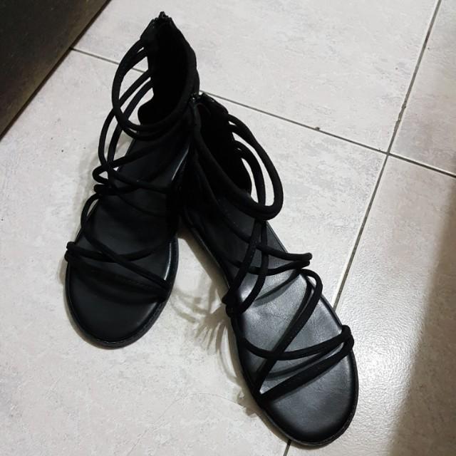 #新春八折 全黑平底羅馬鞋