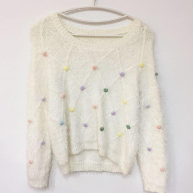 韓版 立體球球毛衣