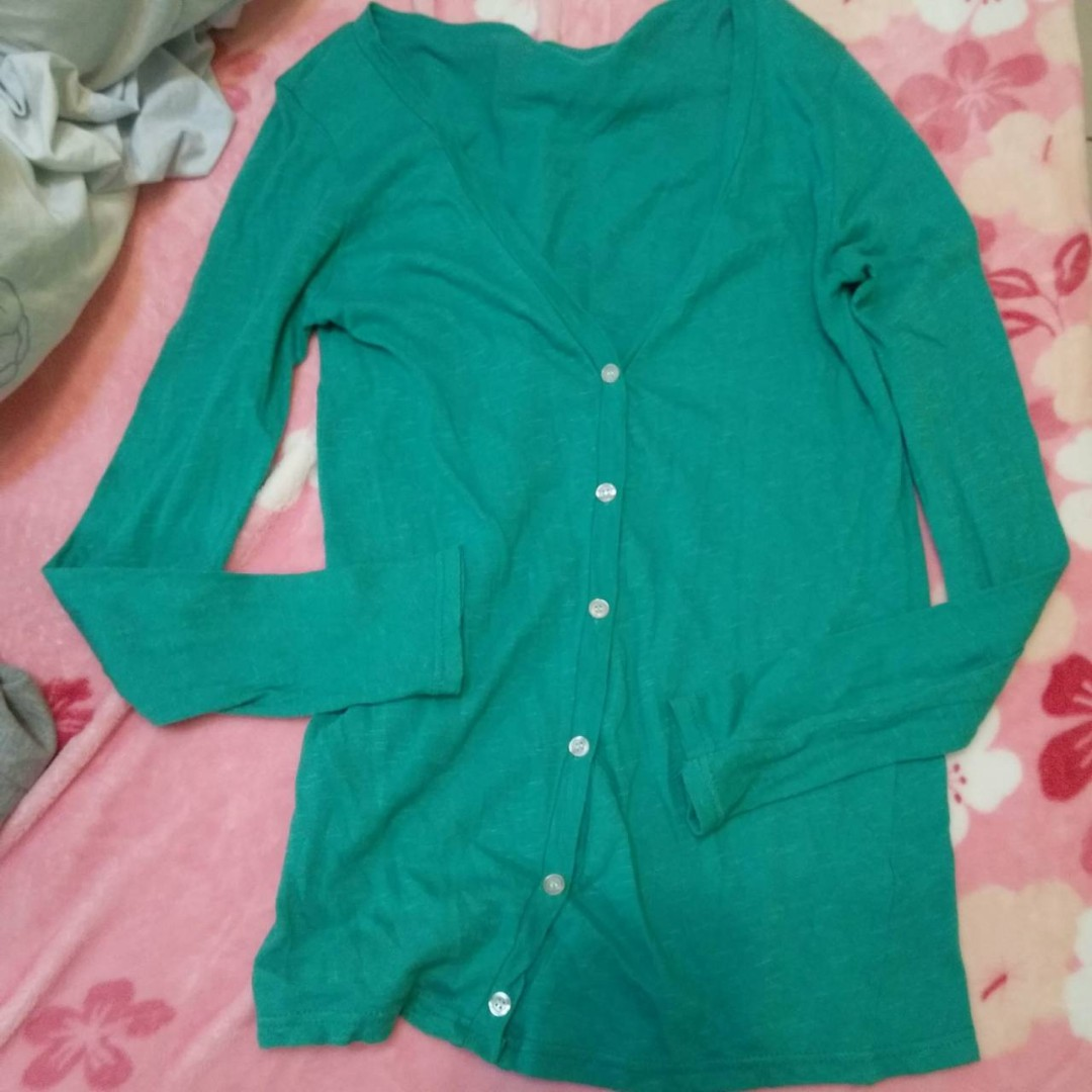 正韓 綠色 針織外套 毛衣