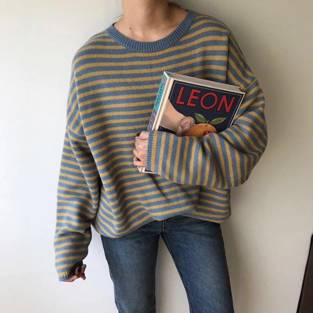 淘寶 夢露家 黃藍條紋 毛衣 針織