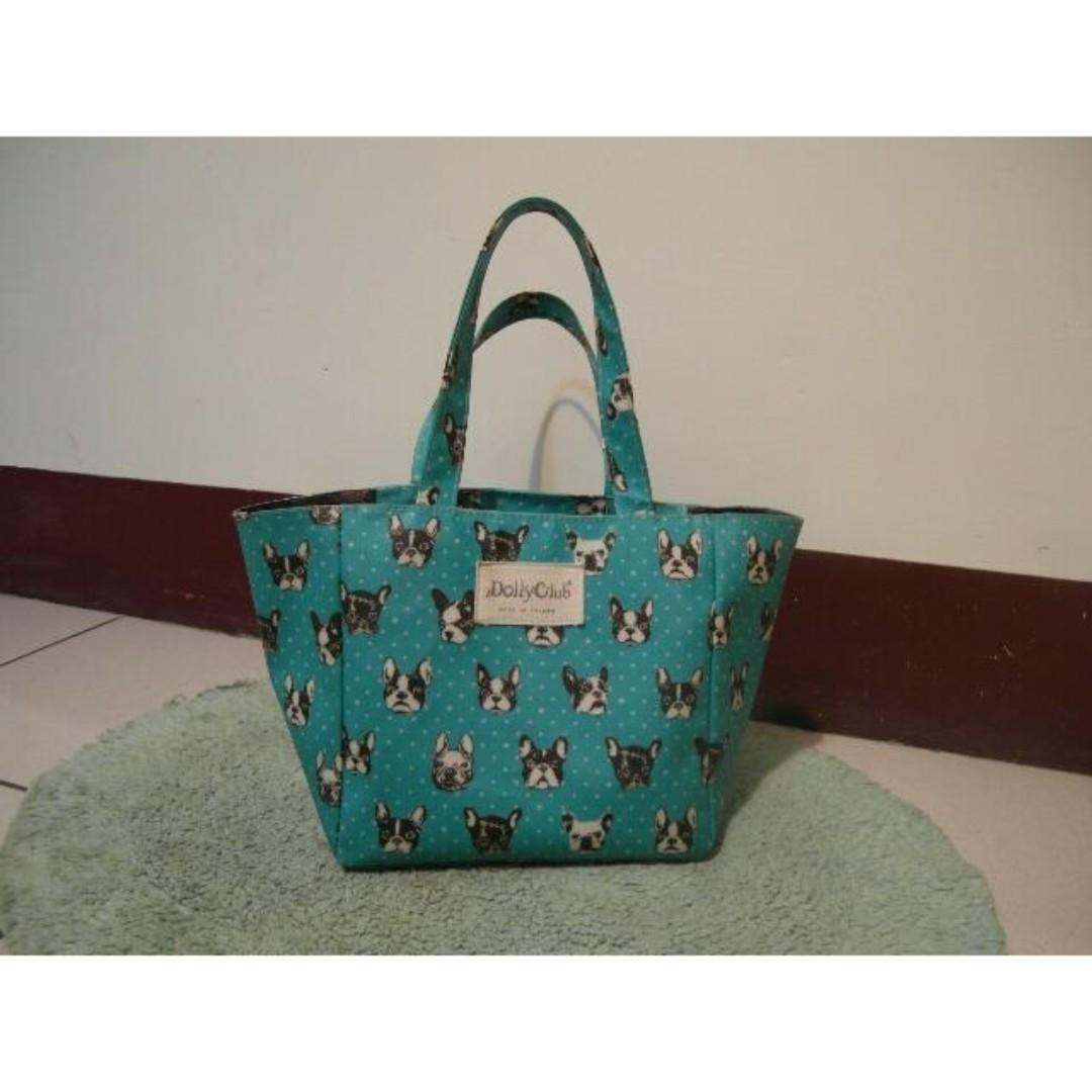 防水藍綠法鬥狗頭包 便當袋 野餐包包 提袋 手提袋 田園風格 青草綠 bag