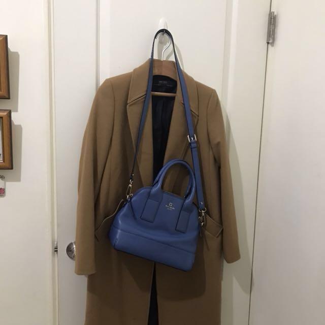 美國品牌正品 kate spade 真皮寶藍色經典手提包 斜背包 肩包 lv alma hermas 貝殼包 牛皮