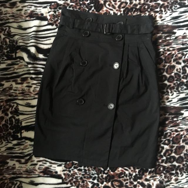 Adam Jones Black Belted Wrap Skirt