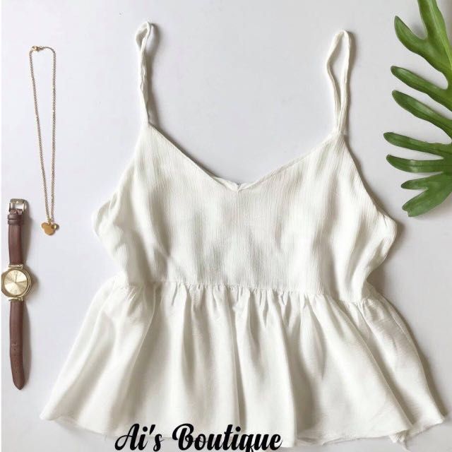 Beige Peplum Sleeveless Top