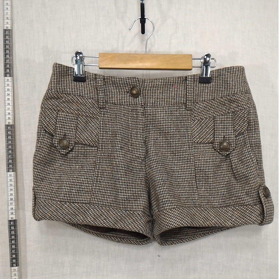 betty's可可色幾何圖案千鳥格花式紗毛料短褲