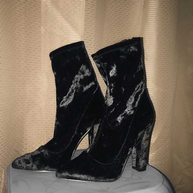 Black Velvet Sock Boots Yeezy Inspired High Over The Ankle Heels Suede Velour