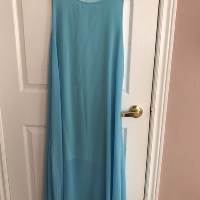 Blue maxi dress not fully lined size m