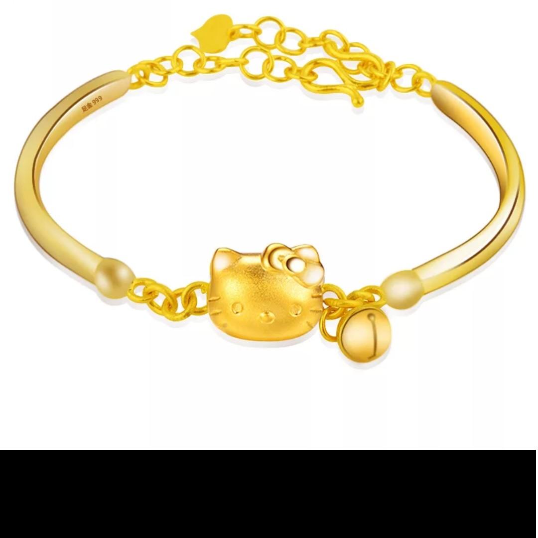 b08c6298b Bracelet / Bangle -999 Gold Hello Kitty Lenght 21cm, Bulletin Board,  Preorders on Carousell