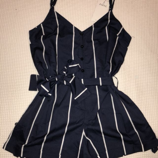 Brand new Playsuit Navy Blue And White striped