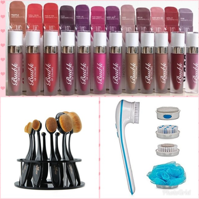 Bundle( 12 pieces lipstick, 10 brushes with stand, moprhe powder, and body brush wit 5 attachments)