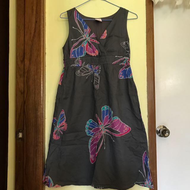 Butterfly Designed Sleeveless Summer Dress