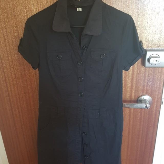 Button down black shirt dress