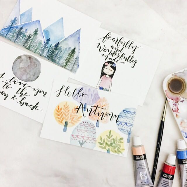 Calligraphy watercolour cards and paintings