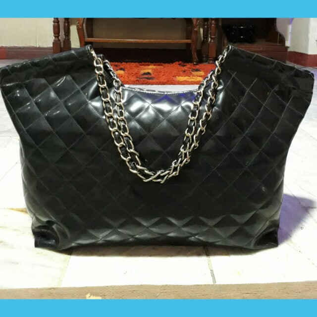 Chanel inspired big black shoulder bag