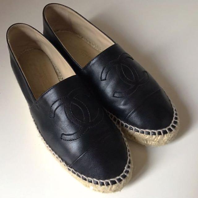 Chanel leather espadrilles black flats Gucci hermes