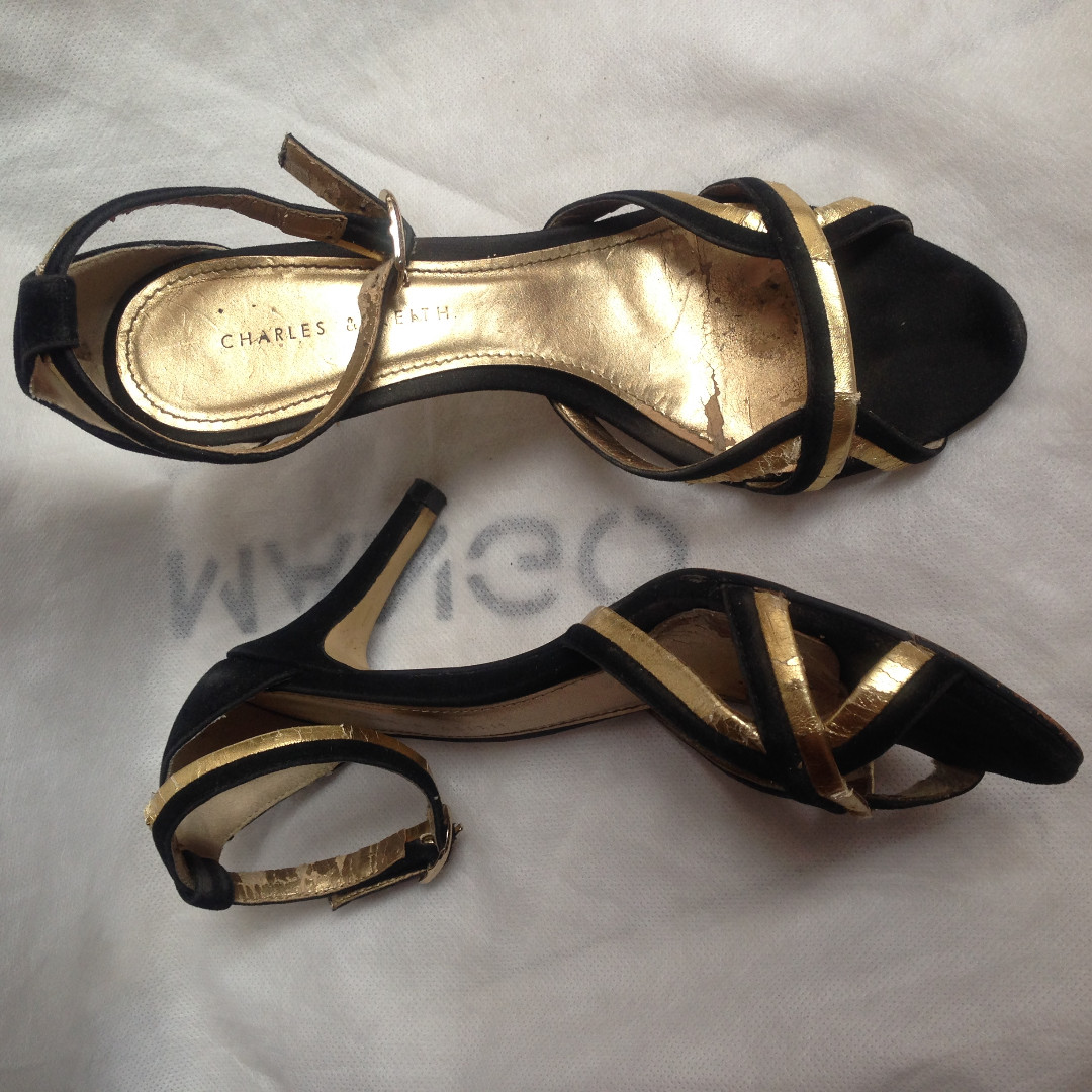 Charles & Keith Black Gold Strap Heels