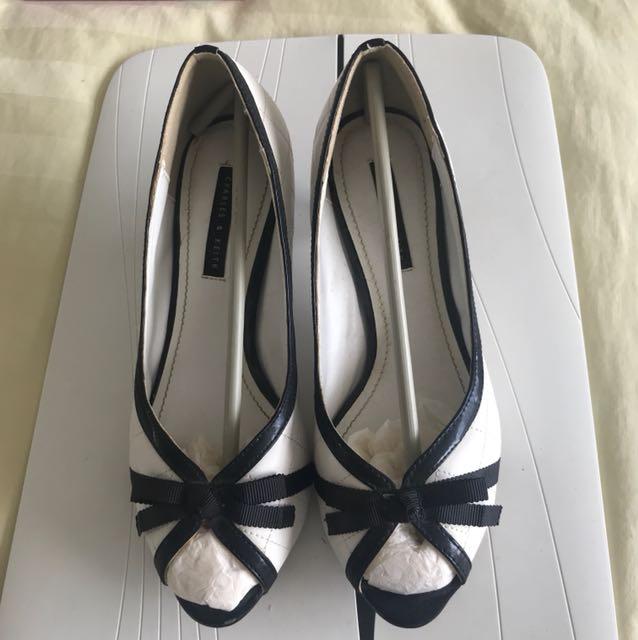 Charles & Keith White Mini Heels