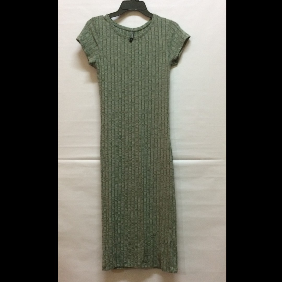 Cotton On Army Green Ribbed Knit Bodycon Dress 6fcdf4036