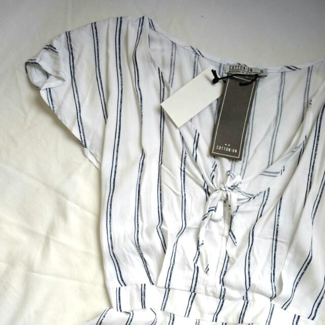 Cotton On Stripes White Sun Dress