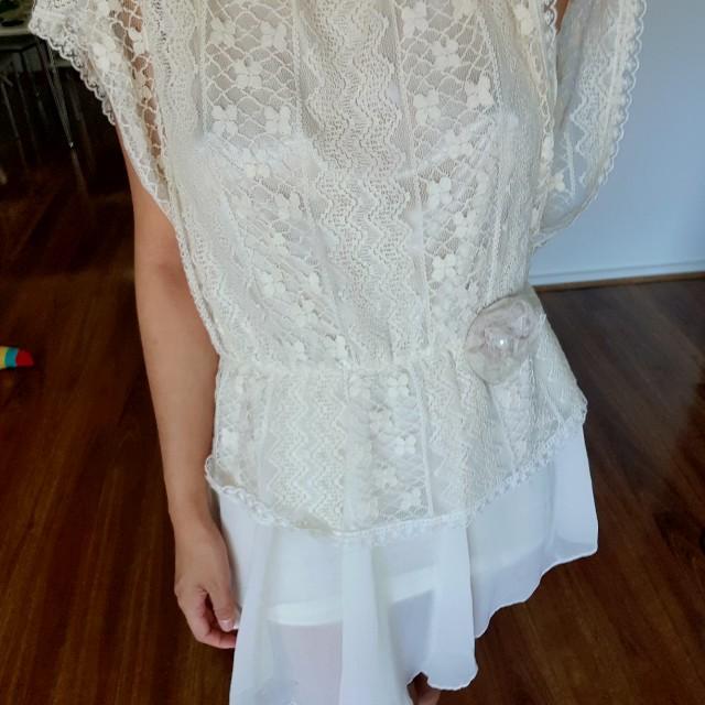 Cream beige lace dress
