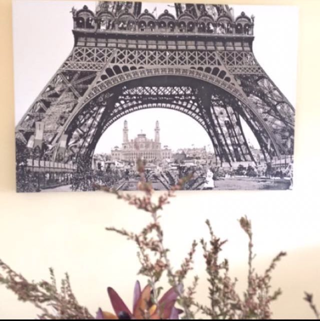 Eiffel Tower black and white canvas