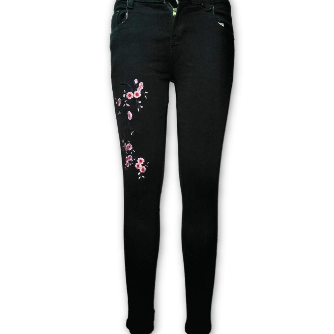 Floral Black Jean