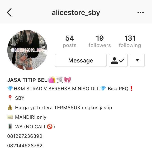 follow ig jastip sby murah @alicestore_sby💛💛💛