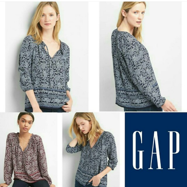 GAP Abs Navy Burgundy Smokie Blouse