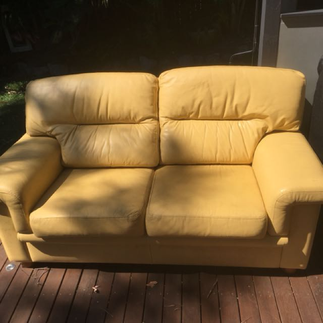 Genuine leather yellow couch